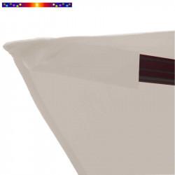 Toile de remplacement 3x3 pour Parasol Excentré Biscarrosse Soie Greige : détail du fourreau de fixation de la toile sur la bale