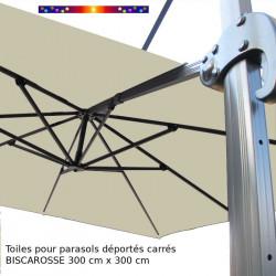 Toile de remplacement 3x3 pour Parasol Excentré Biscarrosse Soie Greige : vue de la toile sur l'armature