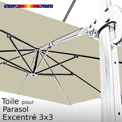 Toile Soie Grège CARREE 3x3 pour Parasol Déporté
