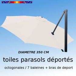 Toile de remplacement OCTOGONALE 350 CM pour Parasol EXCENTRE Biscarrosse Couleur ECRU NATURE