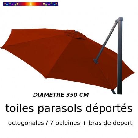 Toile de remplacement OCTOGONALE 350 CM pour Parasol EXCENTRE Biscarrosse Couleur TERRACOTTA