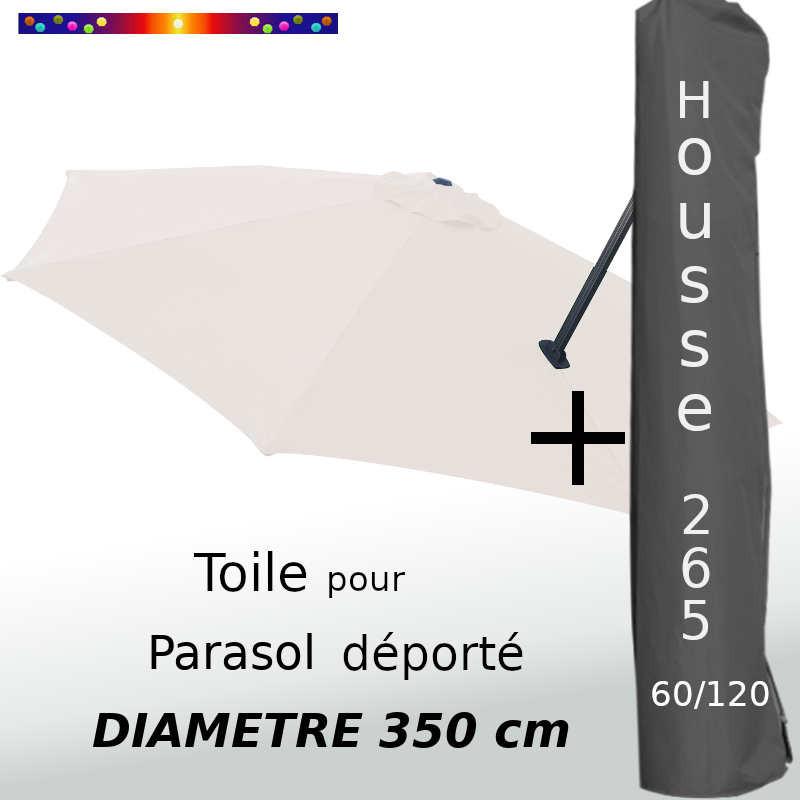 Pack : Toile Ecrue pour parasol Déporté 350/8 + Housse 265x60/120