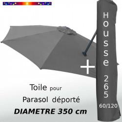 Pack : Toile Grise Souris pour parasol Déporté 350/8 + Housse 265x60/120