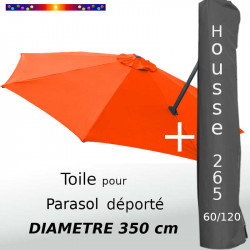 Pack : Toile Orange pour parasol Déporté 350/8 + Housse 265x60/120