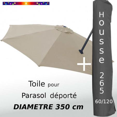 Pack : Toile Grège pour parasol Déporté 350/8 + Housse 265x60/120