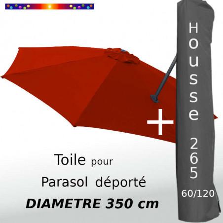 Pack : Toile Terracotta pour parasol Déporté 350/8 + Housse 265x60/120