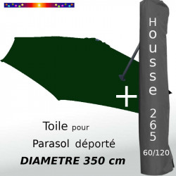 Pack : Toile Vert Pinède pour parasol Déporté 350/8 + Housse 265x60/120