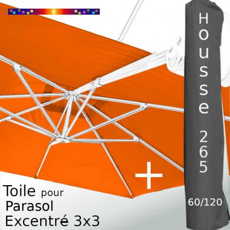 Pack : Toile Orange pour parasol Déporté 3x3 + Housse 265x60/120