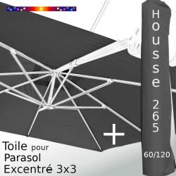 Pack : Toile Gris Souris pour parasol Déporté 3x3 + Housse 265x60/120