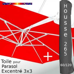 Pack : Toile Rouge pour parasol Déporté 3x3 + Housse 265x60/120