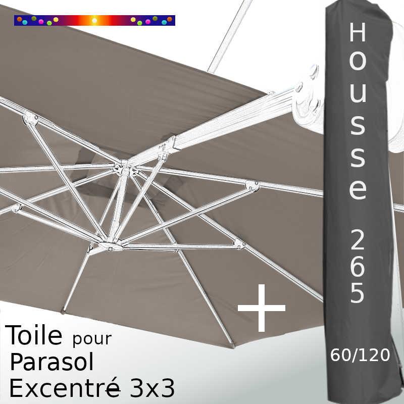 Pack : Toile Taupe pour parasol Déporté 3x3 + Housse 265x60/120