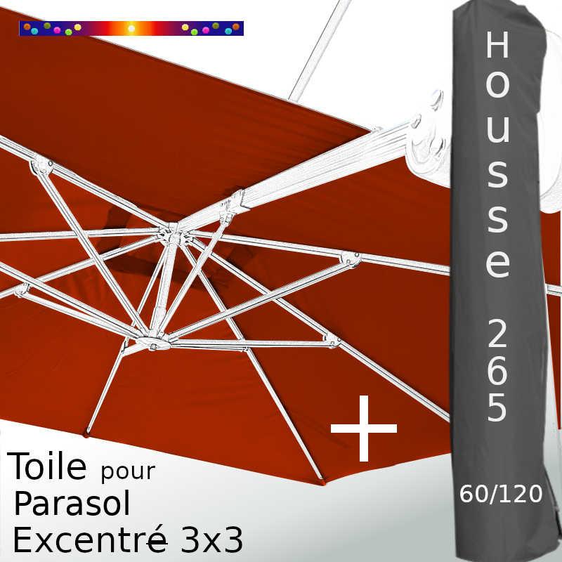 Pack : Toile Terracotta pour parasol Déporté 3x3 + Housse 265x60/120