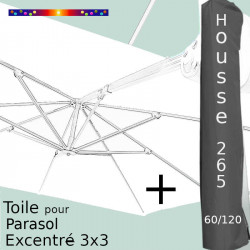 Pack : Toile Blanche pour parasol Déporté 3x3 + Housse 265x60/120