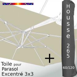 Pack : Toile Grège pour parasol Déporté 3x3 + Housse 265x60/120