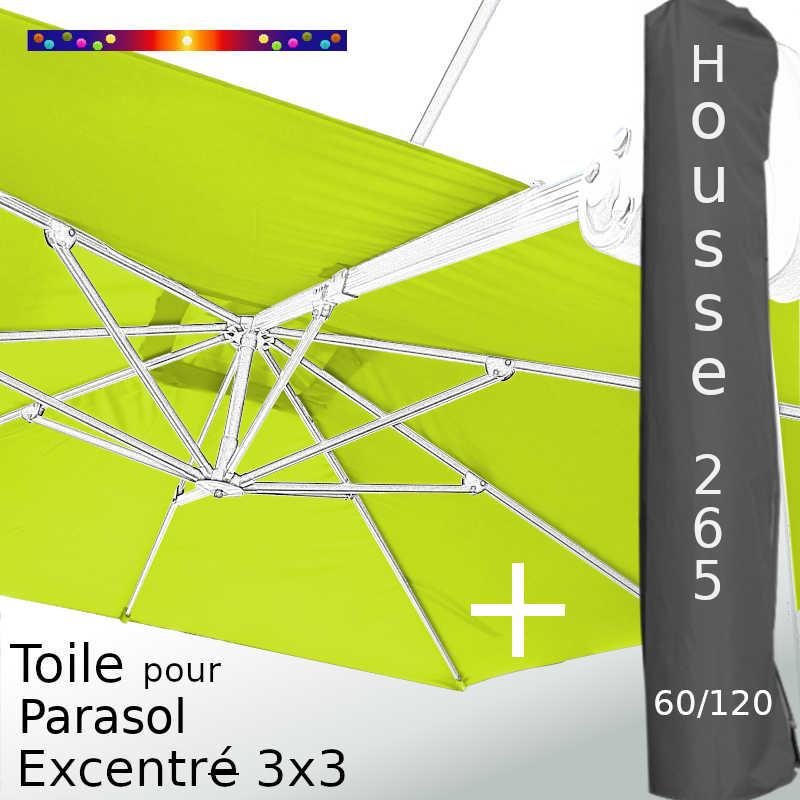 Pack : Toile Vert Lime pour parasol Déporté 3x3 + Housse 265x60/120