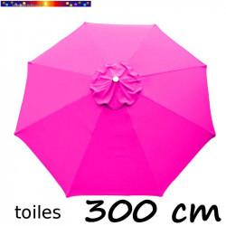 Toile de remplacement pour parasol Lacanau 300 cm Rose Fushia vue de dessus