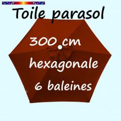 Toile de remplacement pour parasol HEXAGONAL 300 cm couleur Terracotta