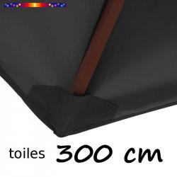 Toile de remplacement pour parasol 300 cm Gris Souris : fourreau de fixation en bas de la baleine