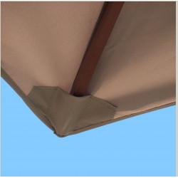 Toile de remplacement pour parasol 300 cm Gris Taupe : fourreau coté bas de la baleine