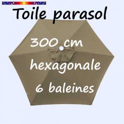 Toile de remplacement pour parasol HEXAGONAL 300 cm couleur TAUPE