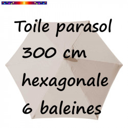 Toile de remplacement pour parasol HEXAGONAL 300 cm couleur Soie Grège (collection 2015)