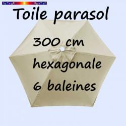 Toile de remplacement pour parasol HEXAGONAL 300 cm couleur Soie Grège