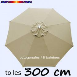 Toile de remplacement pour parasol 300 cm Soie Greige vue de dessus