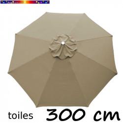 Toile de remplacement pour parasol 300 cm Gris Taupe vue de dessus