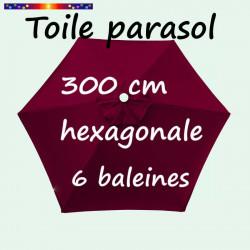 Toile de remplacement pour parasol HEXAGONAL 300 cm couleur Rouge Bordeaux