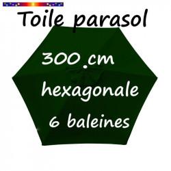 Toile de remplacement pour parasol HEXAGONAL 300 cm couleur Vert Pinède