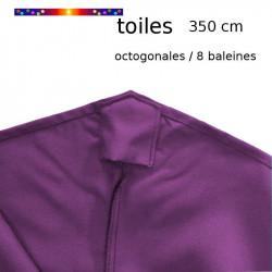 Toile de remplacement pour parasol 350 cm Violette : fourreau pour maintenir la toile en bout de baleine