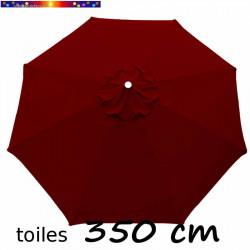 Toile de remplacement pour parasol 350 cm Rouge Bordeaux vue de dessus
