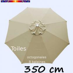 Toile de remplacement pour parasol 350 cm Soie Greige vue de dessus