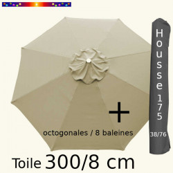 Pack : Toiles 300/8 Soie Grège + Housse 175/38x76