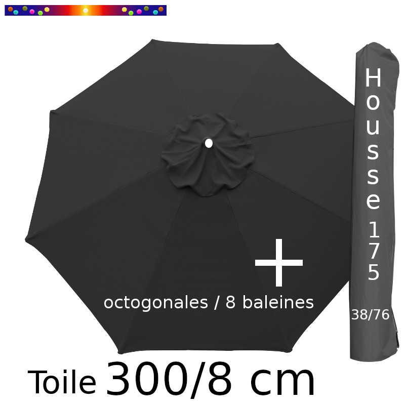 Pack : Toile 300/8 Gris Souris + Housse 175x38/76