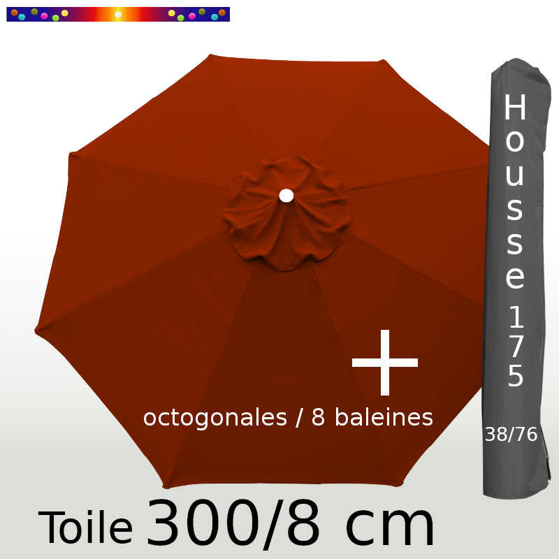 Pack : Toile 300/8 Terracotta + Housse175x38/76
