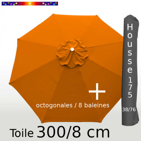 Pack : Toiles 300/8 Orange Capucine + Housse 175/38x76