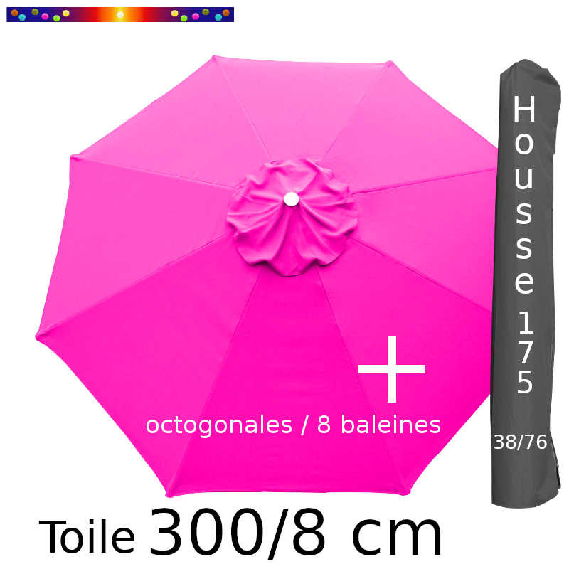 Pack : Toiles 300/8 Rose Fushia + Housse 175/38x76