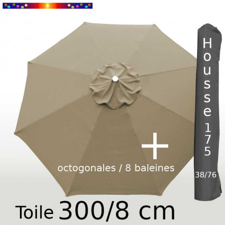 Pack : Toiles 300/8 Taupe + Housse 175/38x76