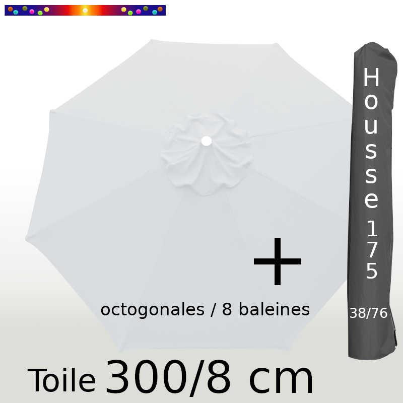 Pack : Toiles 300/8 Blanc Jasmin + Housse 175/38x76