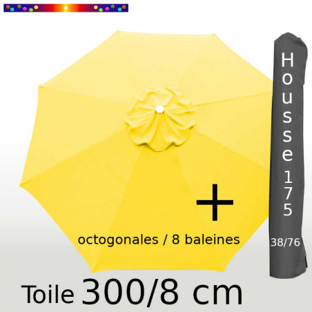 Pack : Toiles 300/8 Jaune Bouton d'Or + Housse 175/38x76