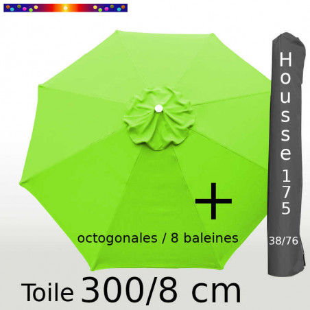 Pack : Toiles 300/8 Vert Lime + Housse 175/38x76