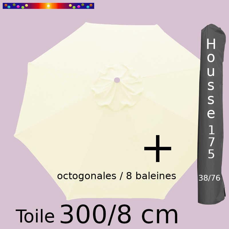 Pack : Toiles 300/8 Ecru Crème + Housse 175/38x76