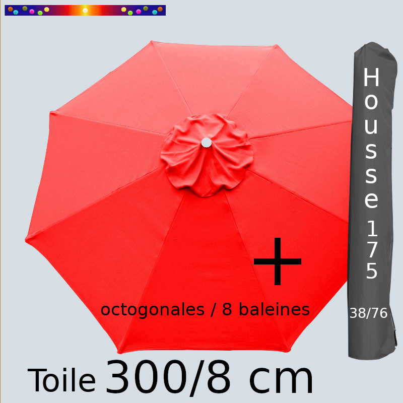 Pack : Toiles 300/8 Rouge + Housse 175/38x76
