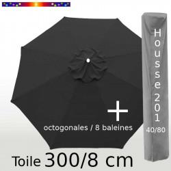 Pack : Toile 300/8 Gris Souris  + Housse 201x40/80