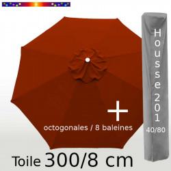 Pack : Toile 300/8 Terracotta + Housse 201x40/80