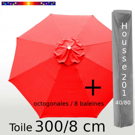 Pack : Toile 300/8 Rouge Coquelicot + Housse 201x40/80