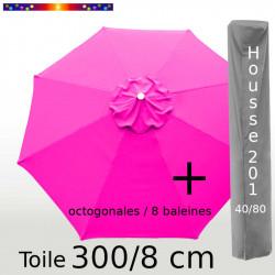 Pack : Toile 300/8 Rose Fushia + Housse 201x40/80