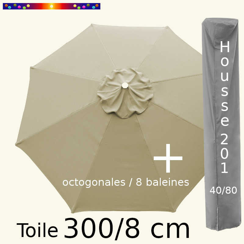 Pack : Toile 300/8 Soie Grège + Housse 201x40/80