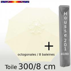 Pack : Toile 300/8 Ecru Crème + Housse 201x40/80